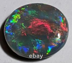 Cherry Red! 3.8ct Solid Black Opal MULTICOLOR Oval Lightning Ridge